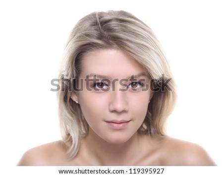 Beautiful Girl face. Perfect skin concept - stock photo