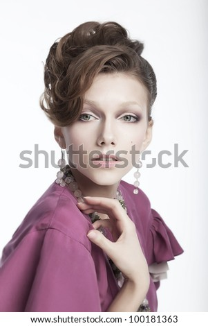 Beautiful girl - fashion model. Health, beauty, wellness, haircare, cosmetics and make-up - stock photo