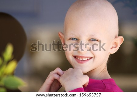 beautiful girl fighting cancer - stock photo