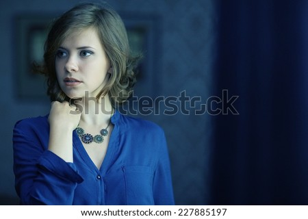 beautiful girl fright fear stress - stock photo