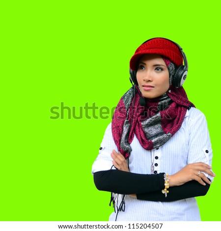 Beautiful girl happy with green screen - stock photo