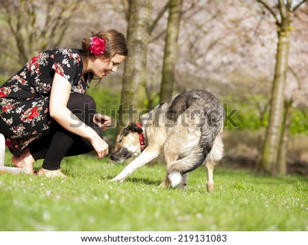 Beautiful girl having a picnic in the spring with her dog with blossoming trees in the background - stock photo