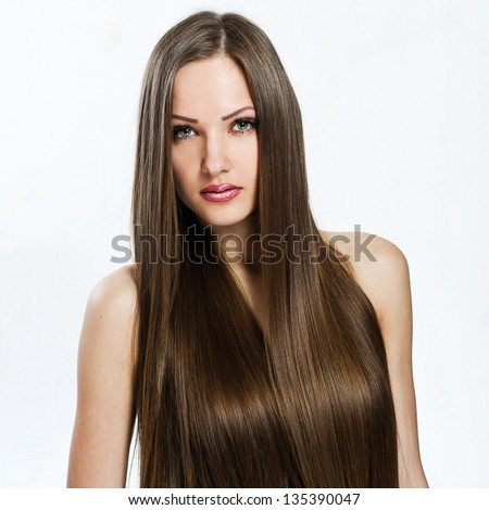beautiful girl. healthy long hair. beauty model woman. - stock photo