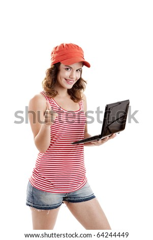 Beautiful girl holding a laptop and with thumbs up, isolated on white - stock photo