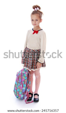beautiful girl holding a schoolbag.Isolated on white background. - stock photo