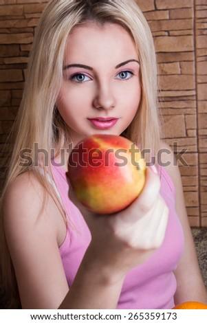 beautiful girl holding Apple. Health, sport, summer - stock photo