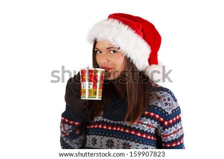 Beautiful girl holding hot drink - stock photo