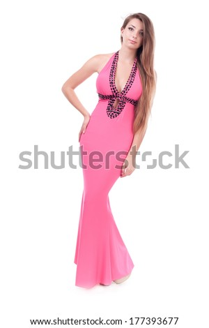 beautiful girl in a dress. isolated on white background - stock photo