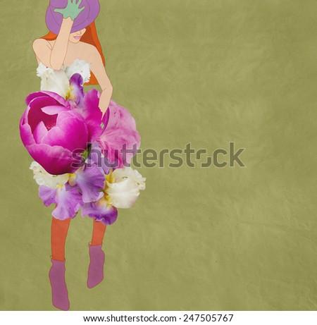 beautiful girl in a flower dress, fashion - stock photo
