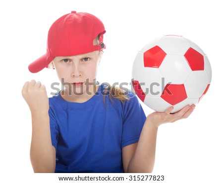 Beautiful girl in a sports cap and a T-shirt with a ball on a white background. - stock photo