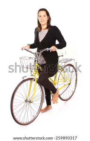 beautiful girl in a vintage bike - stock photo