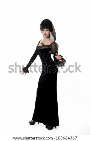 beautiful girl in black dress - stock photo