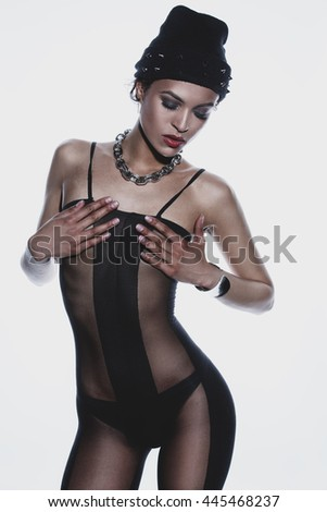 beautiful girl in erotic clothes - stock photo