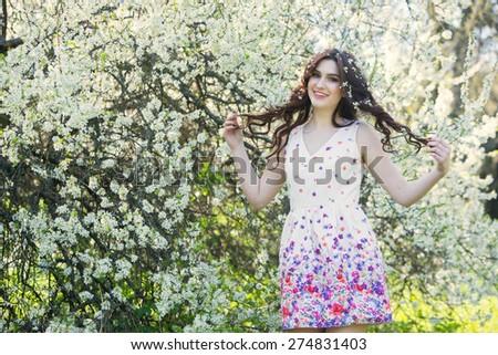 beautiful girl in spring - stock photo