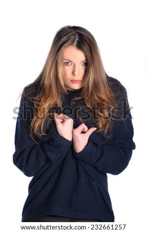 Beautiful girl in sweater - stock photo