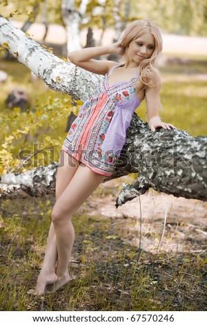 beautiful girl in the meadow - stock photo