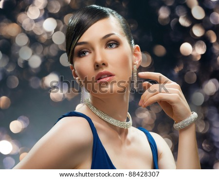 beautiful girl in vintage style - stock photo