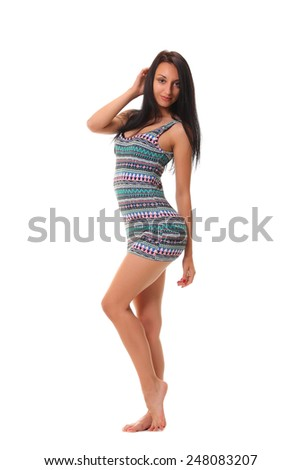 beautiful girl is in fashion style - stock photo