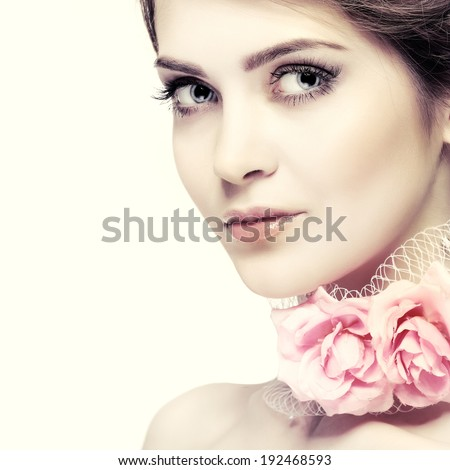 Beautiful  girl, isolated on a white background, emotions, cosmetics - stock photo