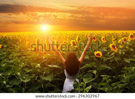 Beautiful girl meets a dawn on the sunflower field - stock photo
