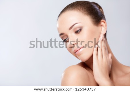 Beautiful girl on a white background - stock photo