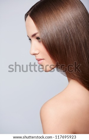 Beautiful girl on white background - stock photo