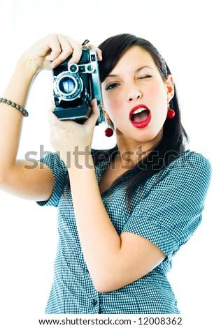 Beautiful girl photographed - stock photo