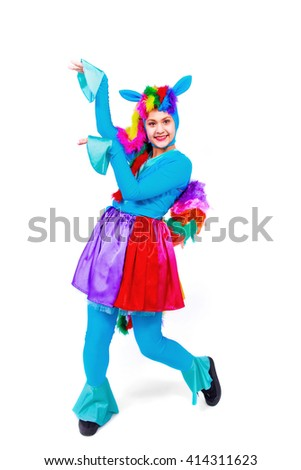 Beautiful girl posing  in fancy dress horse or pony, isolated on a white background - stock photo