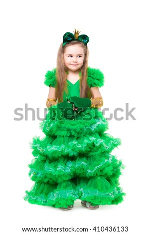 Beautiful girl posing in green frog suit. Isolated on white - stock photo
