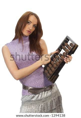 Beautiful girl posing with counting frame - stock photo