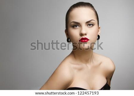 beautiful girl punk with tattu, piercing, red lipstick and perfect skin - stock photo