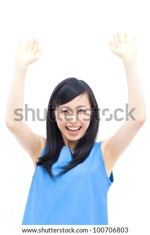 beautiful girl pushing something up, isolated on white background - stock photo