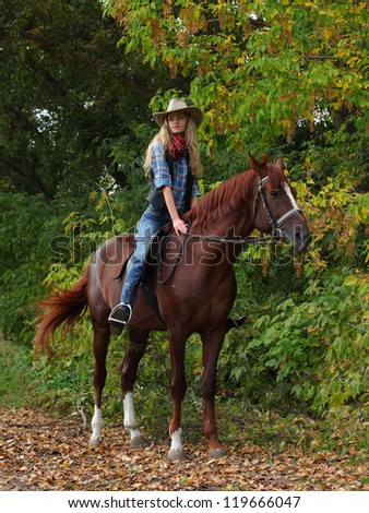 Beautiful girl riding a horse in countryside - stock photo