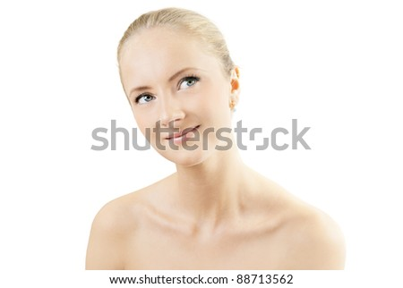 Beautiful girl's face on a white background - stock photo