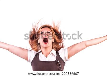 beautiful girl screaming - stock photo