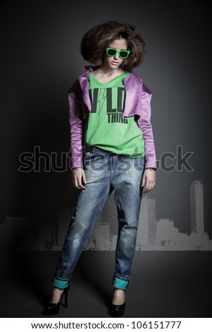 beautiful girl shoot in the studio/beautiful girl 7/ - stock photo