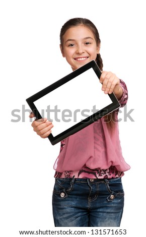 beautiful girl shows a screen Digital Tablet, isolated on white - stock photo
