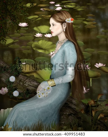 Beautiful girl sits on a tree trunk near a pond - 3D illustration - stock photo