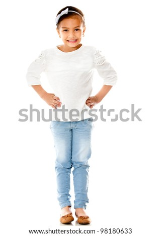 Beautiful girl smiling standing over a white background - stock photo