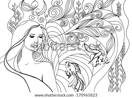 Beautiful girl swimming in deep sea surrounded by corals, fish and sea life. Cute mermaid with long hair. Illustration of Pisces astrological sign. - stock photo