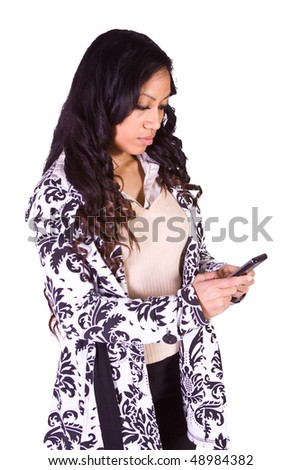 Beautiful Girl Texting on an Isolated Bacground - stock photo