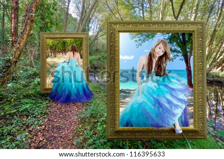 Beautiful girl traveling through the magical portal - fantasy tale - stock photo