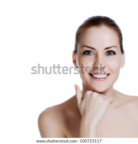 Beautiful girl with a healthy skin and a beautiful smile - stock photo