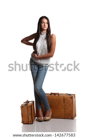 beautiful girl with a suitcase - stock photo