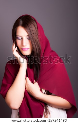 beautiful girl with a veil - stock photo