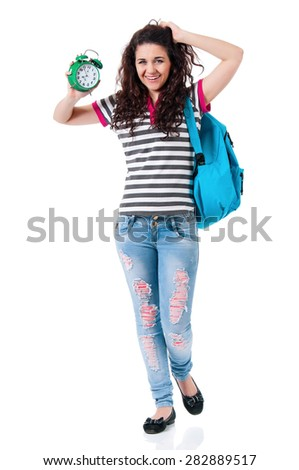 Beautiful girl with alarm clock, isolated on white background - stock photo