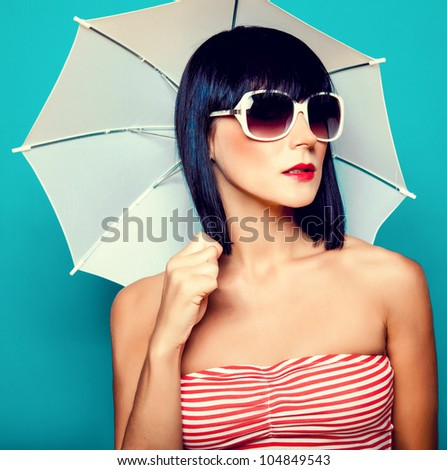 beautiful girl with an umbrella - stock photo