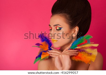 beautiful girl with art make up. face portrait - stock photo