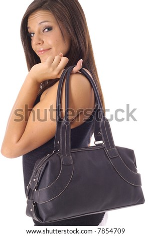 beautiful girl with black purse - stock photo
