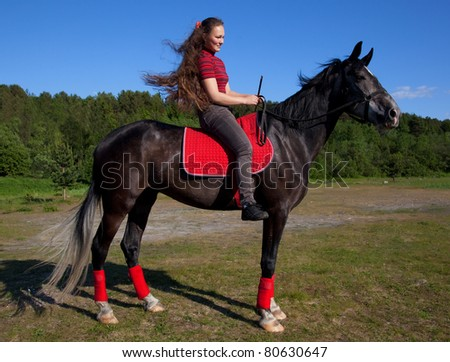 Beautiful girl with brown hair on a black horse against a blue sky and the forest - stock photo